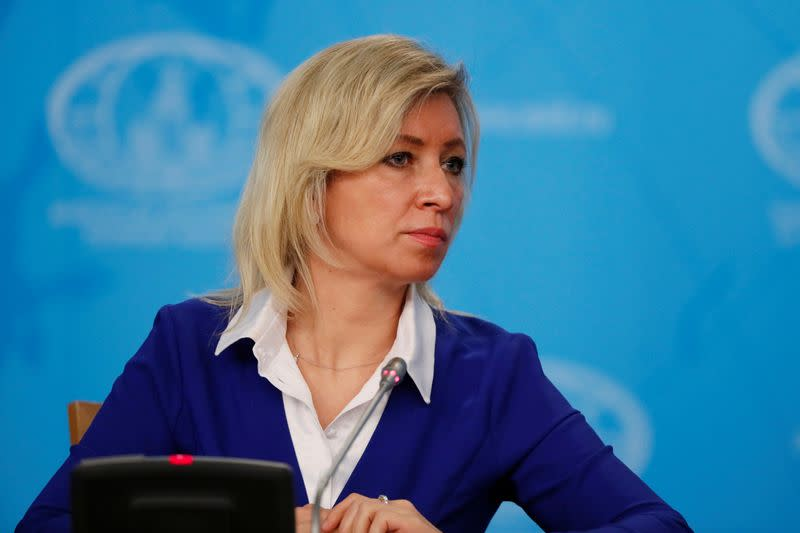 Russia's Foreign Ministry spokeswoman Maria Zakharova attends the annual news conference of acting Foreign Minister Sergei Lavrov in Moscow