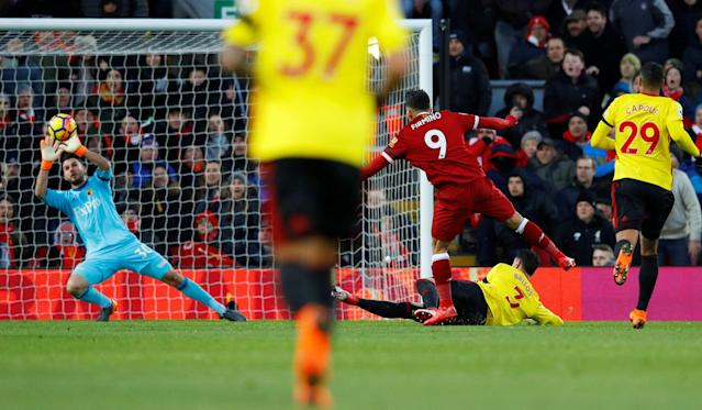 "Soccer Football - Premier League - Liverpool vs Watford - Anfield, Liverpool, Britain - March 17, 2018 Liverpool's Roberto Firmino shoots at goal REUTERS/Phil Noble EDITORIAL USE ONLY. No use with unauthorized audio, video, data, fixture lists, club/league logos or ""live"" services. Online in-match use limited to 75 images, no video emulation. No use in betting, games or single club/league/player publications. Please contact your account representative for further details."