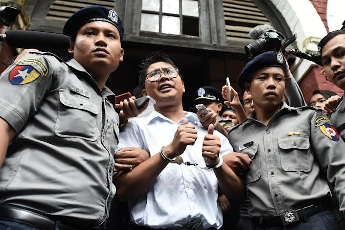 Reporters Wa Lone, pictured, and Kyaw Soe Oo, were arrested in Yangon in December 2017 and later sentenced to seven years in jail for violating the state secrets act, a charge supporters say is trumped up (AFP Photo/Ye Aung THU)