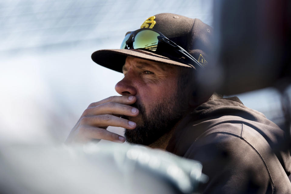 San Diego Padres manager Jayce Tingler watches in the fourth inning of a baseball game against the San Francisco Giants in San Francisco, Sunday, Oct. 3, 2021. (AP Photo/John Hefti)