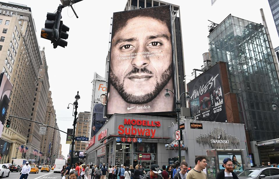"""Nike's Colin Kaepernick """"Dream Crazy"""" commercial won the award for outstanding commercial at the 2019 Creative Arts Emmy Awards. (ANGELA WEISS/AFP/Getty Images)"""