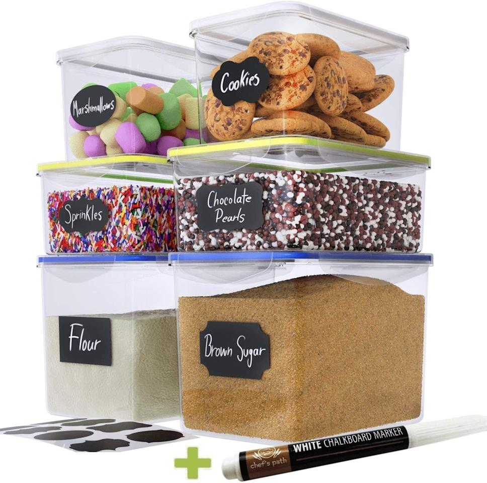 "<p>We love that you can label these <a href=""https://www.popsugar.com/buy/Chef-Path-Food-Storage-Containers-492998?p_name=Chef%27s%20Path%20Food%20Storage%20Containers&retailer=amazon.com&pid=492998&price=25&evar1=casa%3Aus&evar9=46697047&evar98=https%3A%2F%2Fwww.popsugar.com%2Fhome%2Fphoto-gallery%2F46697047%2Fimage%2F46699849%2FChef-Path-Food-Storage-Containers&list1=shopping%2Corganization%2Ckitchens%2Chome%20organization&prop13=api&pdata=1"" rel=""nofollow"" data-shoppable-link=""1"" target=""_blank"" class=""ga-track"" data-ga-category=""Related"" data-ga-label=""https://www.amazon.com/Chefs-Path-Large-Storage-Containers/dp/B078THKFT1/ref=sr_1_50_sspa?crid=2I7MAQN54551&amp;keywords=best+pantry+organizers&amp;qid=1569006137&amp;s=gateway&amp;sprefix=best+pantry+organizers%2Caps%2C-1&amp;sr=8-50-spons&amp;psc=1&amp;spLa=ZW5jcnlwdGVkUXVhbGlmaWVyPUEzNUxXR0I1QUk4QkpHJmVuY3J5cHRlZElkPUEwMDQyMTM4MTcwRUhSQjA3VEE5USZlbmNyeXB0ZWRBZElkPUEwNzE3MDI3MzFMVUNURlVOTk9aNCZ3aWRnZXROYW1lPXNwX2F0Zl9uZXh0JmFjdGlvbj1jbGlja1JlZGlyZWN0JmRvTm90TG9nQ2xpY2s9dHJ1ZQ=="" data-ga-action=""In-Line Links"">Chef's Path Food Storage Containers</a> ($25).</p>"