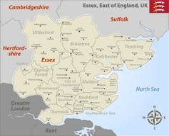 Map of Essex and the surrounding regions.