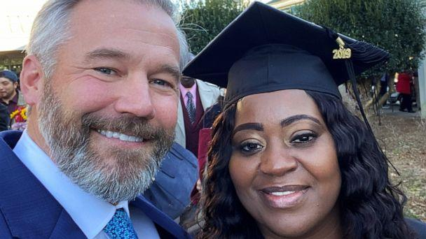 PHOTO: Latonya Young and Kevin Esch pose at Young's December 2019 graduation ceremony at Georgia State University. (Courtesy Kevin Esch)