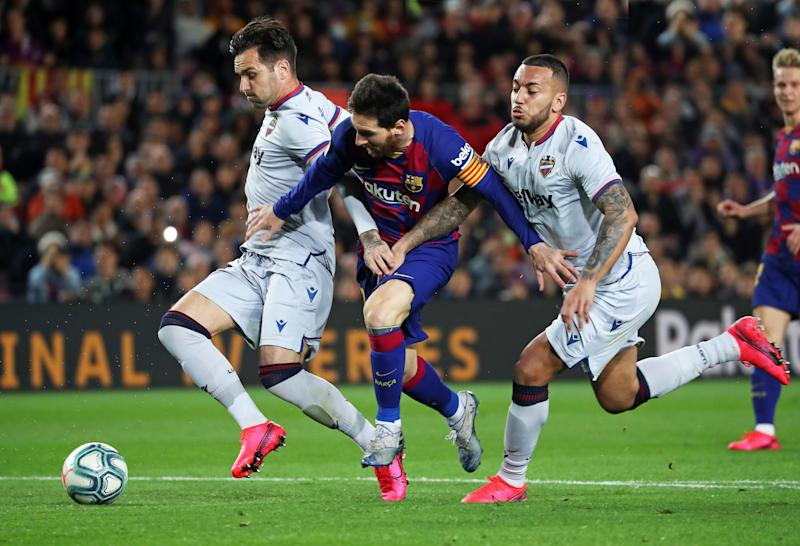 Tono, Leo Messi and Ruben Vezo during the match between FC Barcelona and UD Levante, corresponding to the week 22 of the Liga Santander, played at the Camp Nou Stadium on 02th february 2020, in Barcelona, Spain. (Photo by Joan Valls/Urbanandsport /NurPhoto via Getty Images)