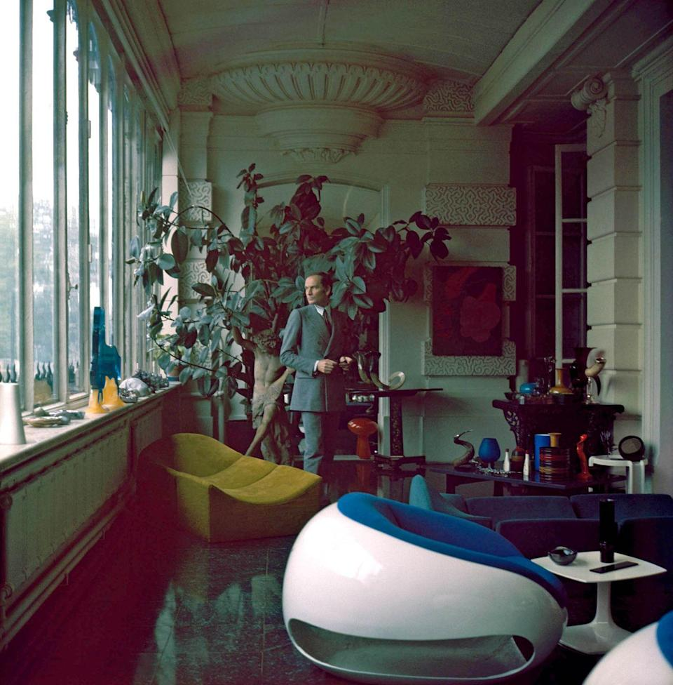 <p>French fashion designer Pierre Cardin at home on April 27, 1972 in France.</p>