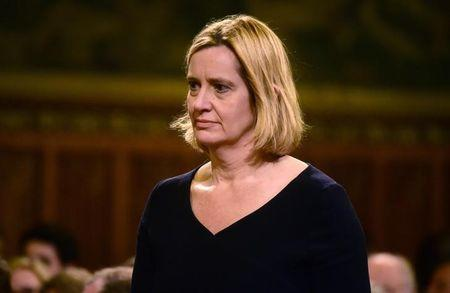 Britain's Home Secretary Amber Rudd awaits a speech from Spain's King Felipe at the Palace of Westminster in London