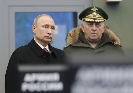 Russian President Putin visits the Military Academy of the Strategic Missile Forces outside Moscow
