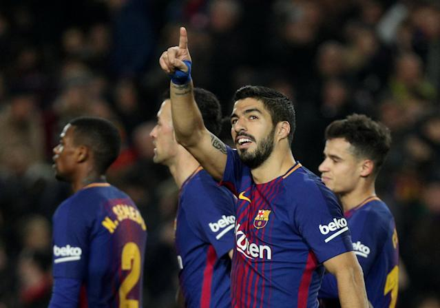 Soccer Football - La Liga Santander - FC Barcelona vs Girona - Camp Nou, Barcelona, Spain - February 24, 2018 Barcelona's Luis Suarez celebrates scoring their fourth goal REUTERS/Sergio Perez