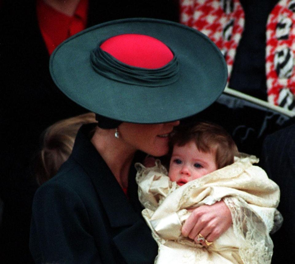 The Duchess of York with her first child, Princess Eugenie Victoria Helena.