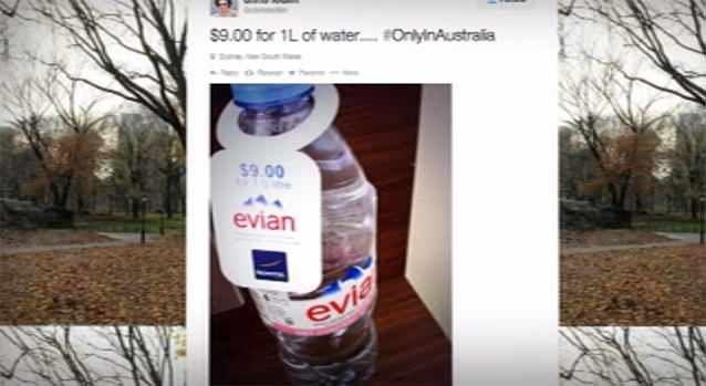 A Twitter user sparked outrage when he posted a photo of a bottle of water costing $9. Photo: 7News/Twitter