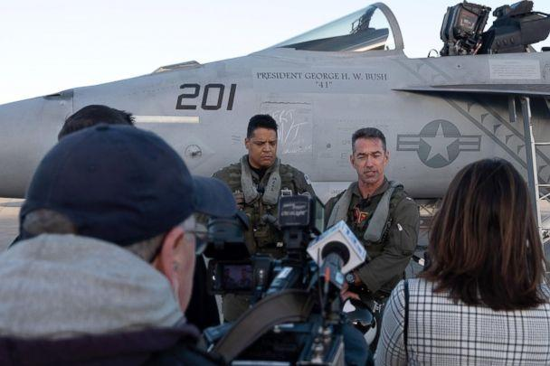 PHOTO: Capt. Kevin McLaughlin and Cmdr. Patrice Fernandes prepare to fly an F/A-18F Super Hornet to the staging location in advance of their upcoming flyover honoring fellow aviator and late President, George H.W. Bush. (US Navy)