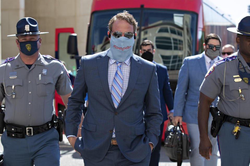 FAYETTEVILLE, AR - OCTOBER 17:    Head Coach Lane Kiffin of the Mississippi Rebels walks to the stadium before a game against the Arkansas Razorbacks at Razorback Stadium on October 17, 2020 in Fayetteville, Arkansas. (Photo by Wesley Hitt/Getty Images)