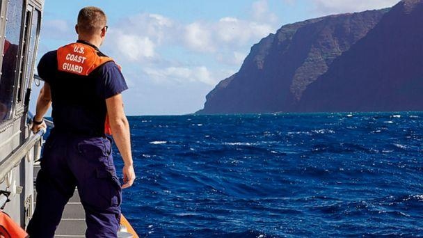 PHOTO: A photo released by the U.S. Coast Guard, Coast Guard Cutter William Hart moves toward the Na Pali Coast on the Hawaiian island of Kauai on Dec. 27, 2019, the day after a tour helicopter disappeared with seven people aboard. (U.S. Coast Guard via AP)