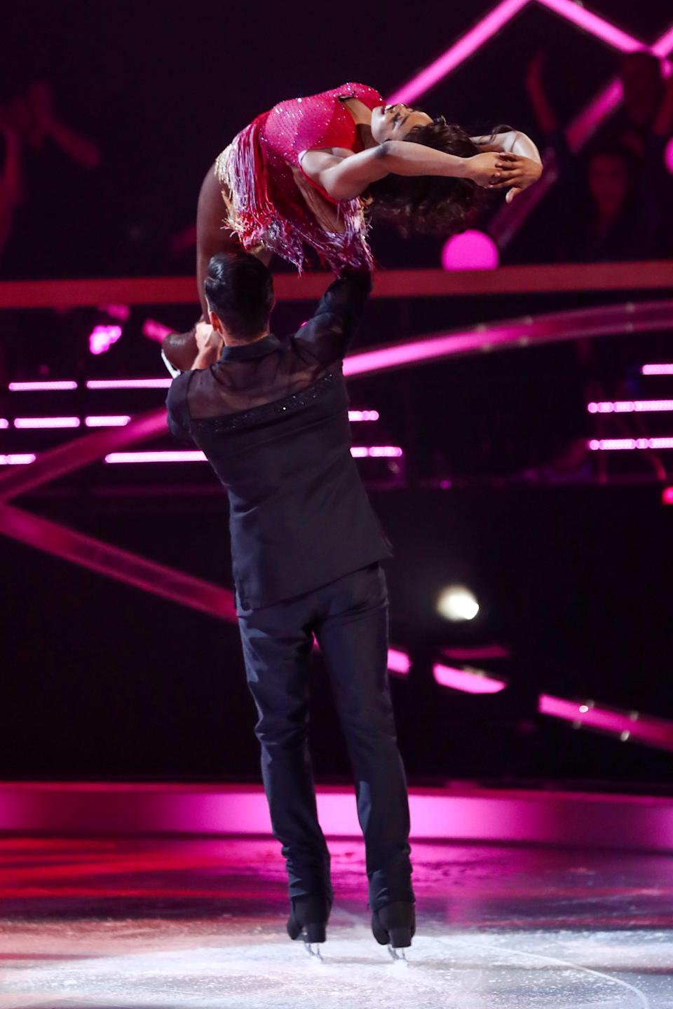 Lady Leshurr and Brendyn Hatfield in the skate-off'Dancing On Ice'