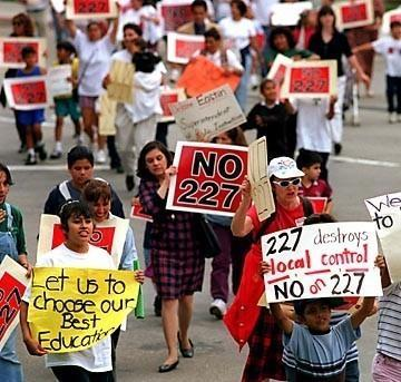 A protest march against Prop. 227