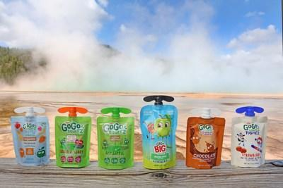 GOGO Squeez products on Thursday, May 27, 2021 at Grand Prismatic in Yellowstone, Montana. (Janie Osborne/AP Images for GoGo SqueeZ)