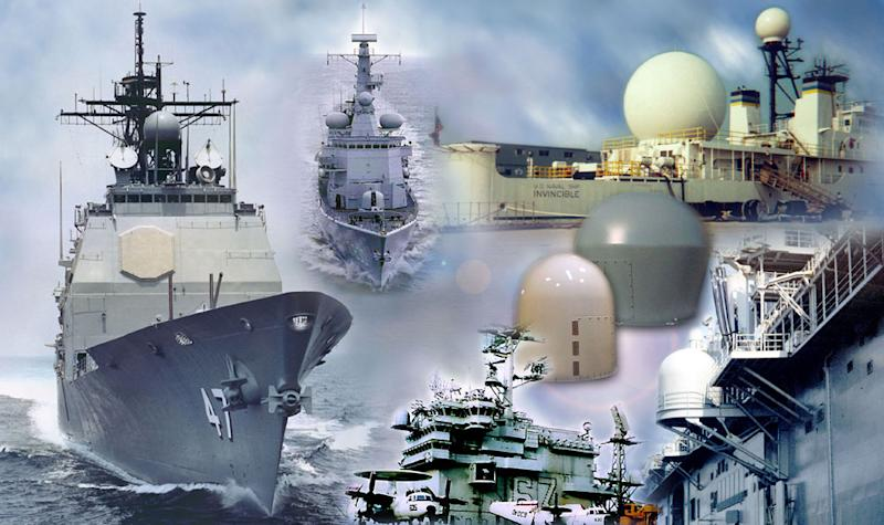 A display of radomes used to protect ship communications systems.