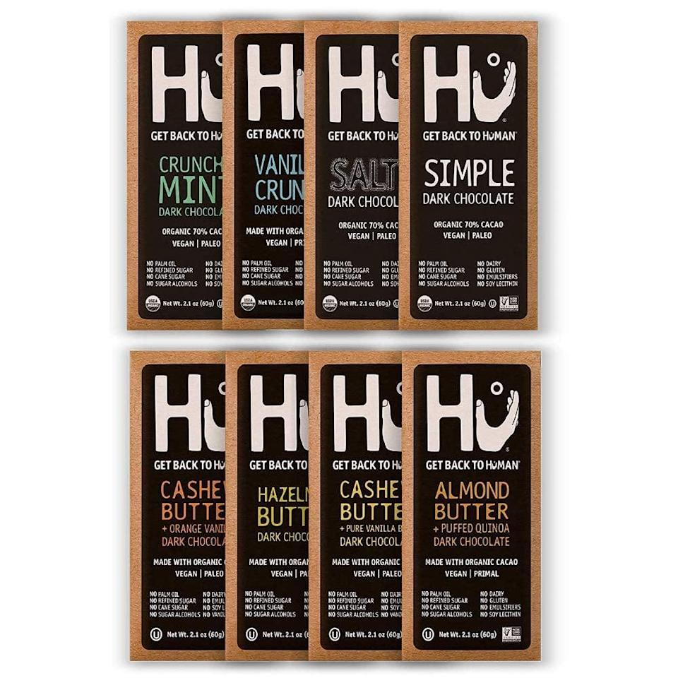 <p>The variety pack of the <span>Hu Vegan Chocolate Bars</span> ($40 for eight) is a perfect pick, because you're definitely going to want to check out all the fun flavors. The hazelnut butter is a personal favorite.</p>