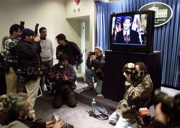 PHOTO: Democratic presidential candidate Vice President Al Gore delivers his concession speech in the presidential election in the White House briefing room, Dec. 13, 2000 in Washington. (Mark Wilson/Getty Images)