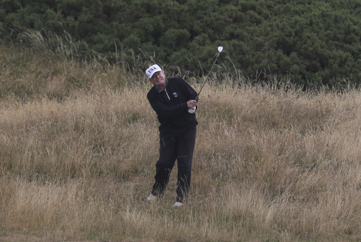 President Trump in Turnberry, Scotland, on July 15. (Photo: Andrew Milligan/PA via AP)