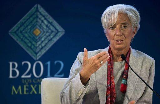 Managing Director fo the IMF Christine Lagarde speaks on the sidelines of the G20 Leaders Summit in Cabo San Lucas. Lagarde said on Monday that member states had promised a total of $456 billion (361 billion euros) for its new crisis fund, $26 billion more than a target set in April