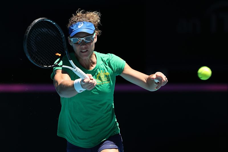 PERTH, AUSTRALIA - NOVEMBER 06: Sam Stosur of Australia plays a forehand while practicing during the 2019 Fed Cup Final Media Opportunity at RAC Arena on November 06, 2019 in Perth, Australia. (Photo by Paul Kane/Getty Images)