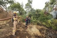 Firefighters try to extinguish a wildfire in Kechries village on the island of Evia, about 144 kilometers (90 miles) north of Athens, Greece, Thursday, Aug. 5, 2021. Forest fires fueled by a protracted heat wave raged overnight and into Thursday in Greece, threatening the archaeological site at the birthplace of the modern Olympics and forcing the evacuation of dozens of villages. (AP Photo/Thodoris Nikolaou)