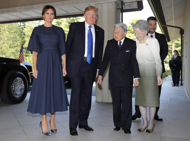 <p>President Donald Trump, center left, and First Lady Melania Trump, left, are welcomed by Emperor Akihito, second from right, Empress Michiko, right, upon their arrival at the Imperial Palace, Monday, Nov. 6, 2017 in Tokyo. (Photo:Eugene Hoshiko, Pool/AP) </p>