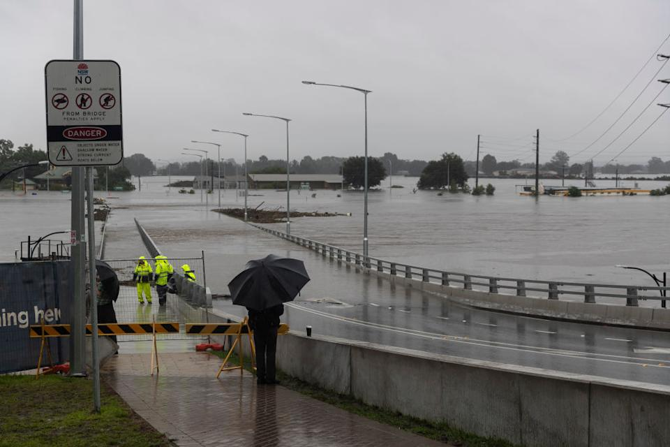 Heavy flooding is seen along the Hawkesbury River at the Windsor CBD in Sydney, Australia.