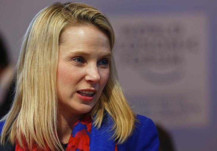 "Yahoo CEO Mayer speaks before the session ""In Tech We Trust"" in the Swiss mountain resort of Davos"