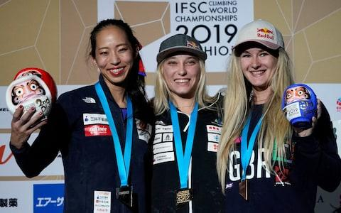 Women's combined gold medalist Janja Garnbret (C) of Slovenia poses with silver medalist Akiyo Noguchi (L) of Japan and bronze medalist Shauna Coxsey (R) of Britain at the IFSC Climbing World Championships in Hachioji, Tokyo suburbs, Japan, 20 August 2019. IFSC Climbing World Championships, Hachioji, Japan - Credit: rex