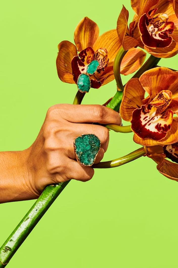 "<p>""Americae was founded by Gabriela Guaracao, who was born in Colombia but raised in the US. In fact, Americae is the Latin word for 'The Americas.' Gabriela draws from both places but is particularly inspired by the Amazonian plants. I fell especially in love with her <span>Raw Emerald Ring</span> ($278), which is special because it's from the Ecosystem collection, incorporating materials from Japan and Milan. Emerald also happens to be my birthstone, and I'm always attracted to imperfections or unique details when it comes to gems."" - Sarah Wasilak, editor, fashion</p>"