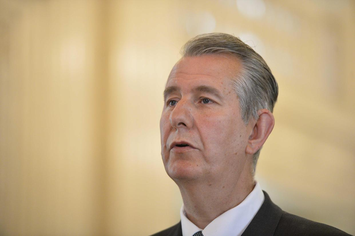 DUP leader Edwin Poots holds a press conference at Parliament Buildings in Belfast (Mark Marlow/PA)