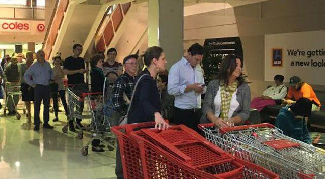Shoppers queue at Aldi, Chatswood. Source: Supplied