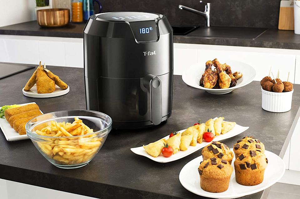 T-Fal EY4018MX Freidora sin aceite EASY FRY 4.2L con Panel Digital, Capacidad XL para 6 Personas/Amazon.com.mx