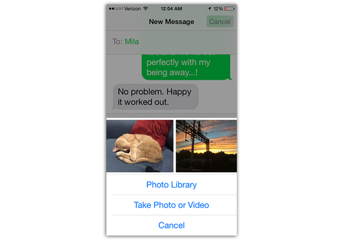 iPhone 6 Message app sharing photos