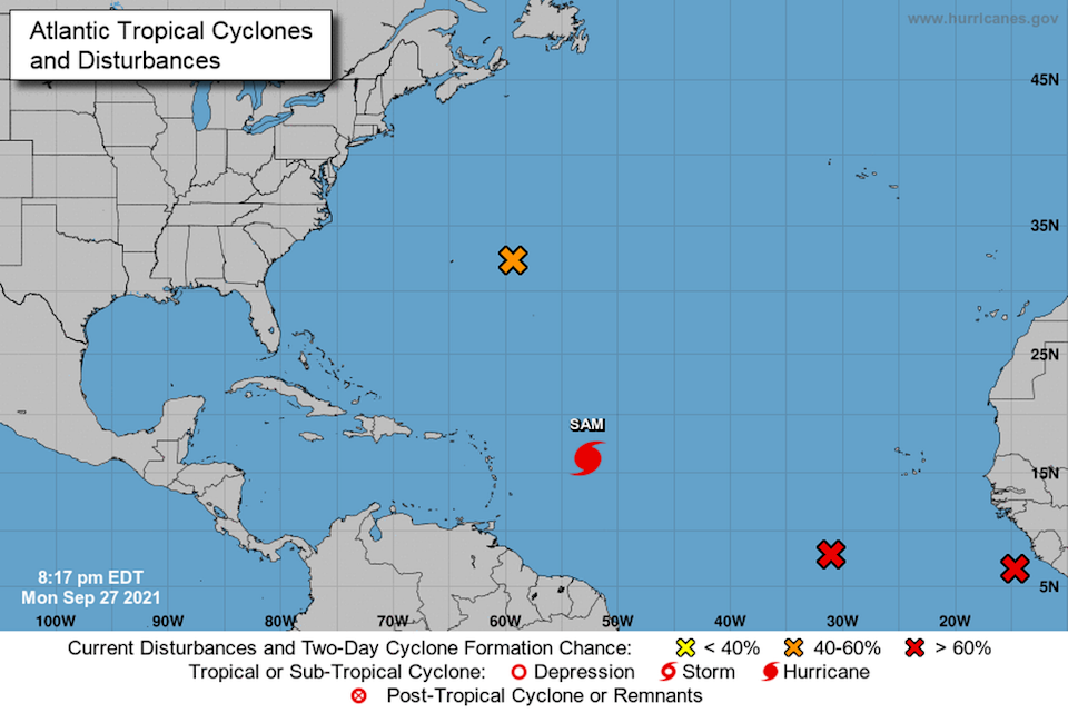 As Hurricane Sam continues to barrel across the Atlantic Monday, forecasters are also eying three systems that could turn into tropical depressions this week, including Peter's remnants.