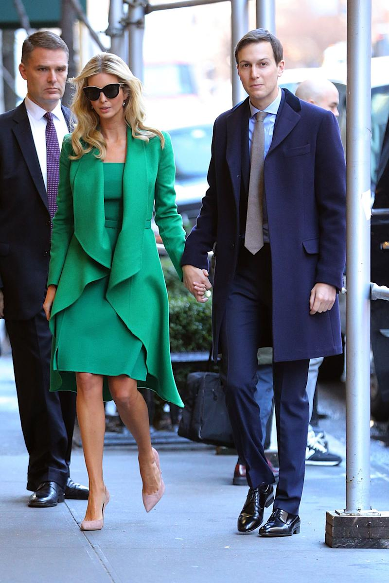 Ivanka Trump was spotted leaving her home in Manhattan on the eve of the inauguration. (Photo: Getty Images)