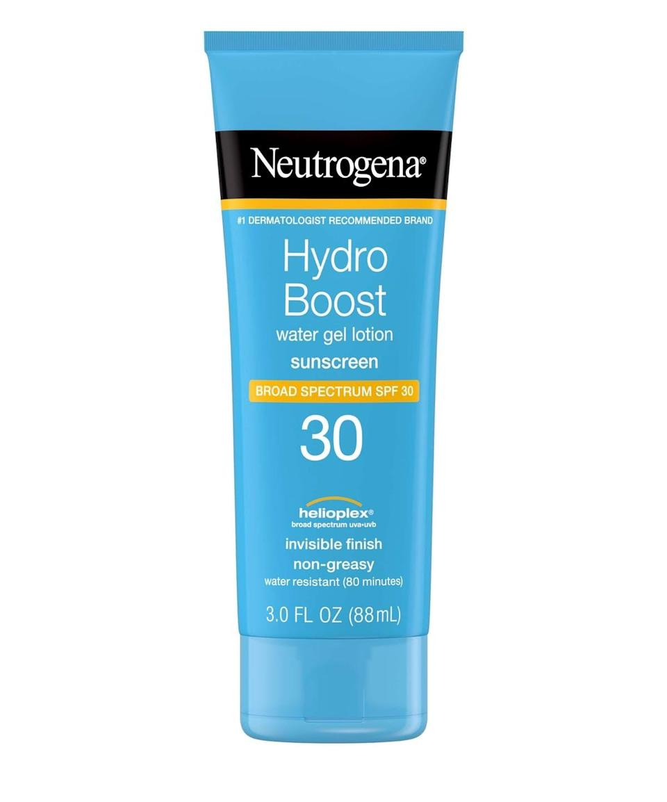 <p>If you have dry skin and need something moisturizing but not greasy, the <span>Neutrogena Hydro Boost Water Gel Lotion Sunscreen SPF 30</span> ($14) is a popular and affordable pick. From the brand's hydrating Hydro Boost line, the sunscreen quickly soaks into the skin and helps you feel moisturized and protected.</p>