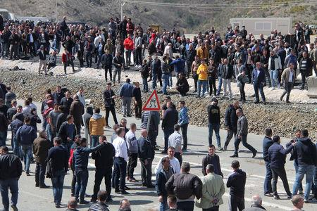 People protest on the Durres-Kukes highway in Kalimash near Kukes, Albania, March 31, 2018. REUTERS/Stringer