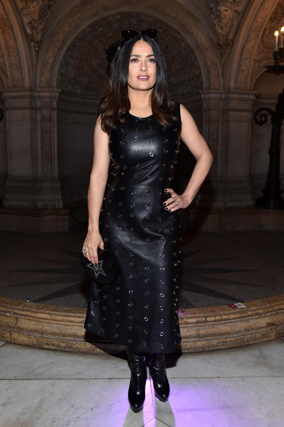 <p>Salma Hayek opted for a fetishistic leather look. <i>[Photo: Getty]</i> </p>