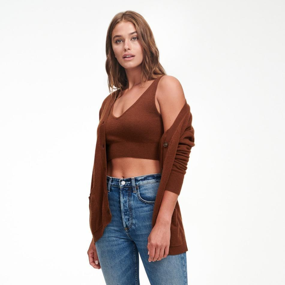 <p>We're obsessed with the color of Naadam's <span>Cashmere Cropped Tank Top</span> ($85) and <span>Cashmere Boyfriend Cardigan</span> ($195).</p>