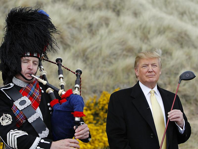 Donald Trump at a press event at the golf course site in 2010 (Reuters)