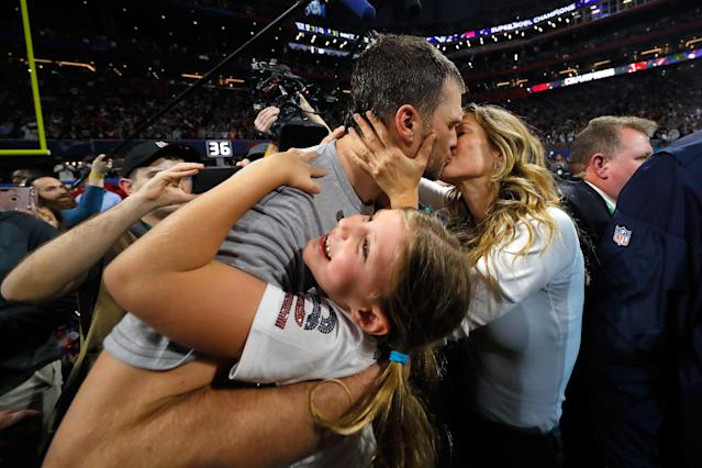 <p>Tom Brady #12 of the New England Patriots kisses his wife Gisele Bündchen after the Super Bowl LIII against the Los Angeles Rams at Mercedes-Benz Stadium on February 3, 2019 in Atlanta, Georgia. The New England Patriots defeat the Los Angeles Rams 13-3. (Photo by Kevin C. Cox/Getty Images) </p>