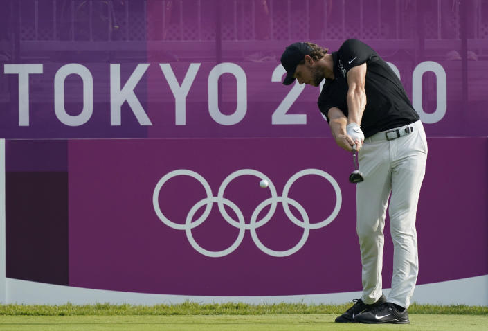 Belgium's Thomas Pieters hits a tee shot on the first hole during the first round of the men's golf event at the 2020 Summer Olympics on Wednesday, July 28, 2021, at the Kasumigaseki Country Club in Kawagoe, Japan. (AP Photo/Matt York)