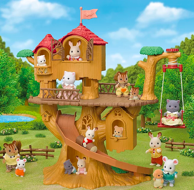 """<p>There are so many ways to play with this fun Tree House. Adventure Tree House's rope swing can go up and down and work as a lift.</p><p>The set includes: Main Unit, Hut, Fence x2, Log Ride, Flag, Rope Swing (a total of 7 pieces).</p><p><a class=""""link rapid-noclick-resp"""" href=""""https://direct.asda.com/george/toys-character/kids-toys/animal-toys-playsets/sylvanian-families-adventure-tree-house/050039647,default,pd.html?cgid=D30M1G1C2"""" rel=""""nofollow noopener"""" target=""""_blank"""" data-ylk=""""slk:Shop now"""">Shop now</a></p>"""