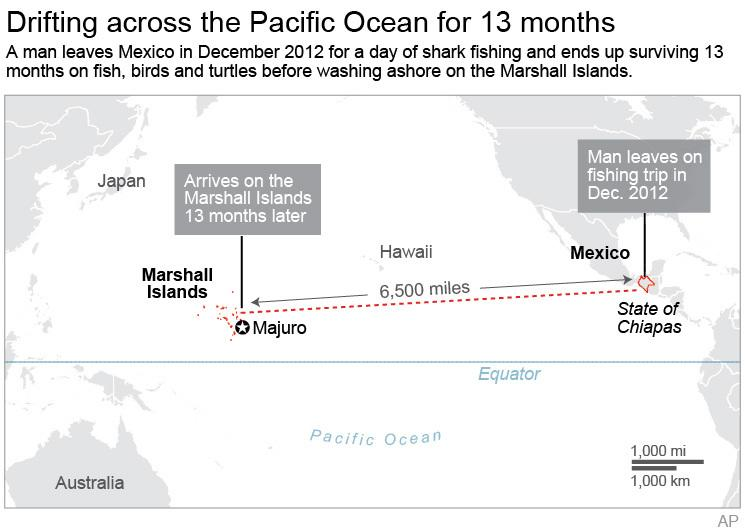 Graphic shows the potentiall path a man suspected of drifting across the Pacific Ocean; 3c x 3 1/2 inches; 146 mm x 88 mm;