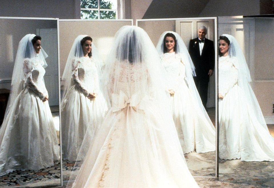 <p>Remember when George sees his daughter in her bridal gown for the first time and she lifts her skirt to reveal bridal Sidekick sneakers? Iconic.</p>
