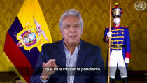 In this image made from UNTV video, Lenín Moreno, President of Ecuador, speaks in a pre-recorded message which was played during the U.N. General Assembly's special session to discuss the response to COVID-19 and the best path to recovery from the pandemic, Thursday, Dec. 3, 2020, at U.N. headquarters, in New York. (UNTV via AP)